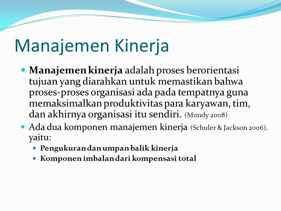 Penilaian Kinerja Penilaian kinerja adalah proses yang dilakukan organisasi untuk mengevaluasi hasil kerja para karyawannya.