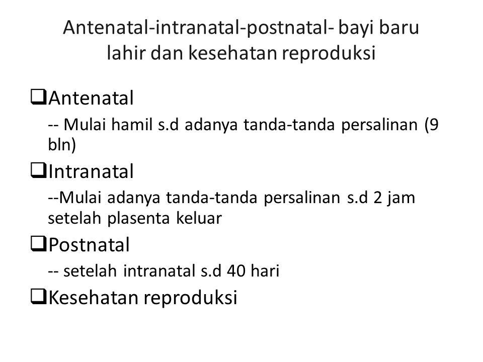 Antenatal-intranatal-postnatal- bayi baru lahir dan kesehatan reproduksi  Antenatal -- Mulai hamil s.d adanya tanda-tanda persalinan (9 bln)  Intranatal --Mulai adanya tanda-tanda persalinan s.d 2 jam setelah plasenta keluar  Postnatal -- setelah intranatal s.d 40 hari  Kesehatan reproduksi