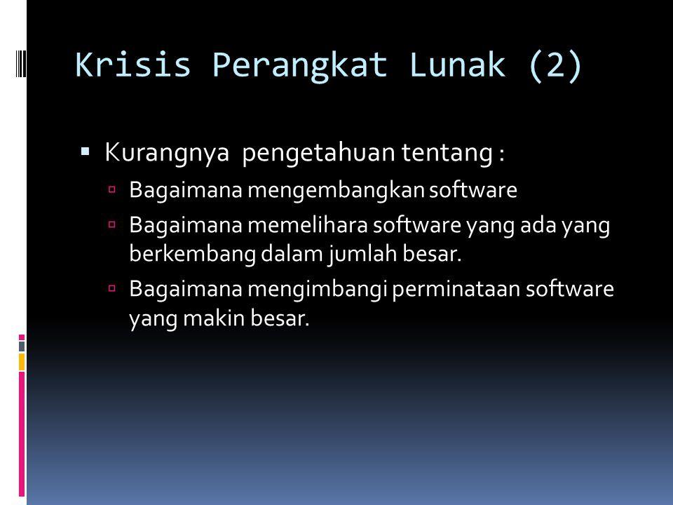 Krisis Perangkat Lunak (2)  Kurangnya pengetahuan tentang :  Bagaimana mengembangkan software  Bagaimana memelihara software yang ada yang berkemba
