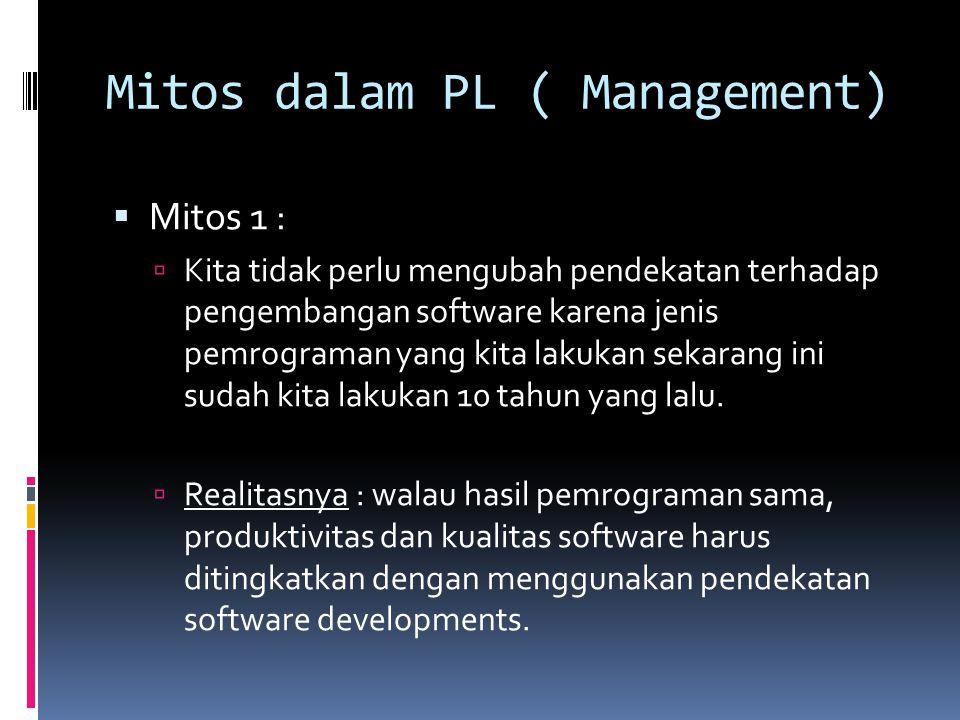 Mitos dalam PL ( Management)  Mitos 1 :  Kita tidak perlu mengubah pendekatan terhadap pengembangan software karena jenis pemrograman yang kita laku
