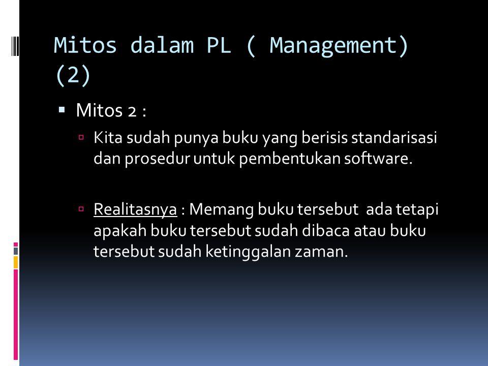 Mitos dalam PL ( Management) (2)  Mitos 2 :  Kita sudah punya buku yang berisis standarisasi dan prosedur untuk pembentukan software.  Realitasnya