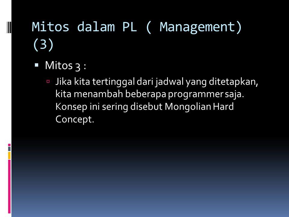 Mitos dalam PL ( Management) (3)  Mitos 3 :  Jika kita tertinggal dari jadwal yang ditetapkan, kita menambah beberapa programmer saja. Konsep ini se