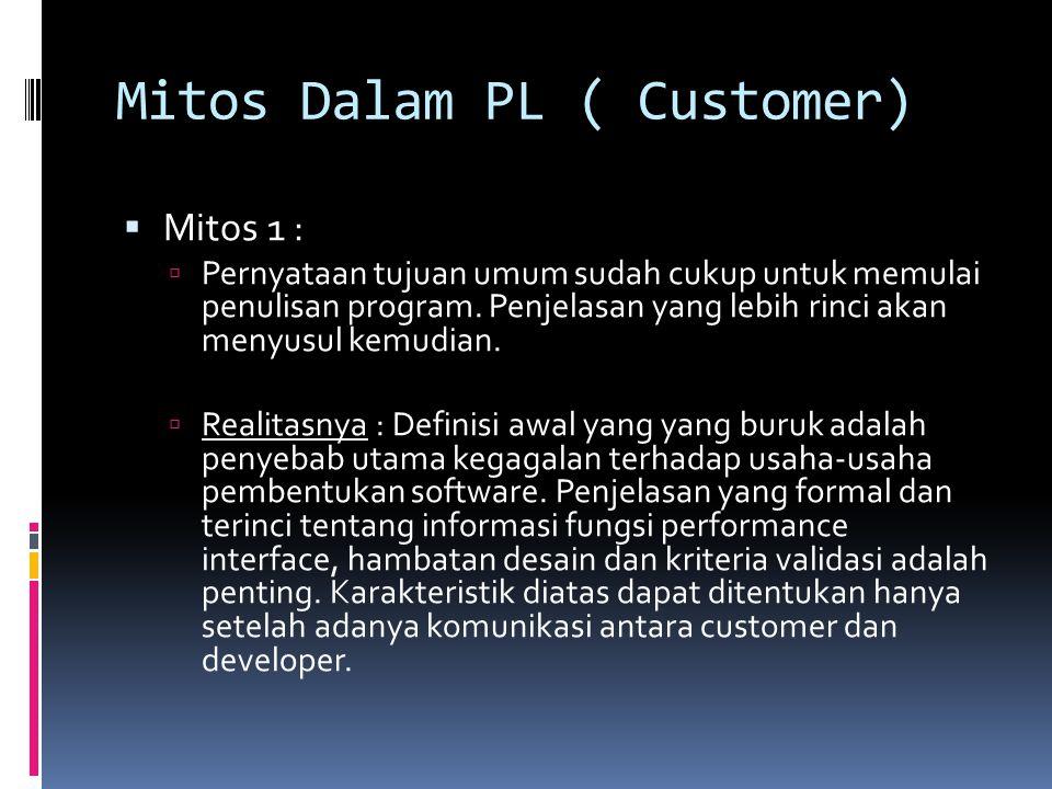 Mitos Dalam PL ( Customer)  Mitos 1 :  Pernyataan tujuan umum sudah cukup untuk memulai penulisan program. Penjelasan yang lebih rinci akan menyusul