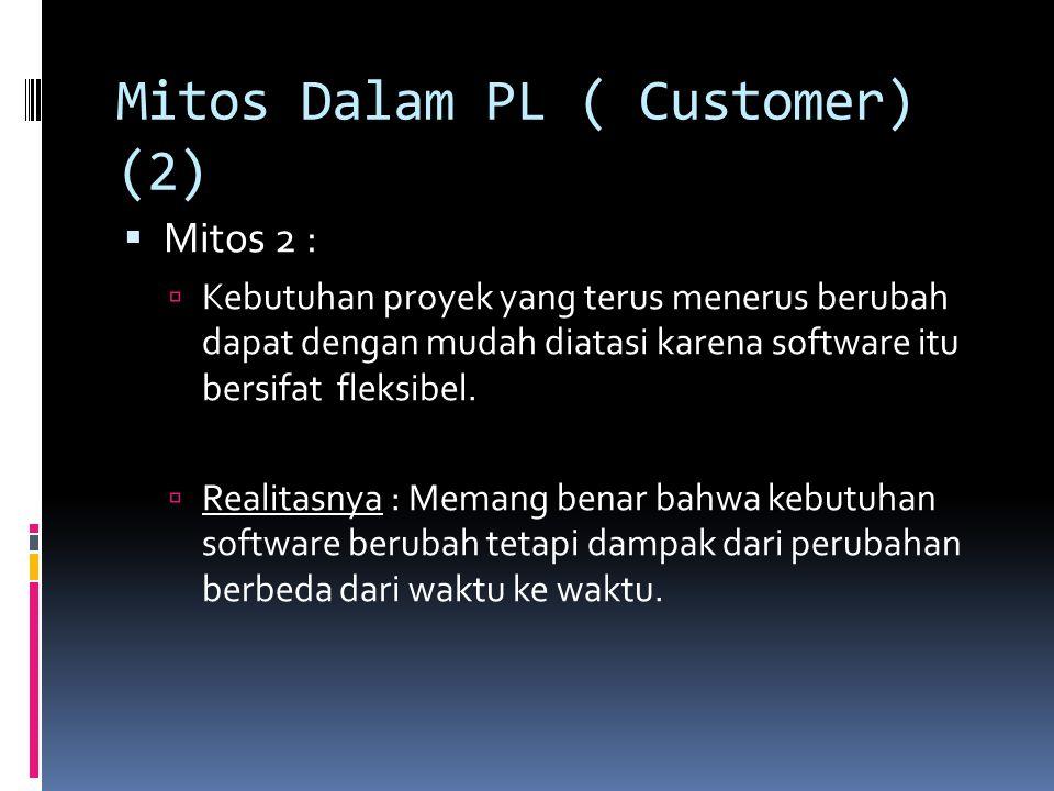 Mitos Dalam PL ( Customer) (2)  Mitos 2 :  Kebutuhan proyek yang terus menerus berubah dapat dengan mudah diatasi karena software itu bersifat fleks