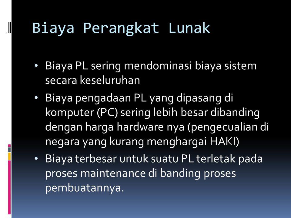 Biaya Perangkat Lunak (2)  Rekayasa PL, terpusat pada biaya efektif dari suatu pembangunan  Untuk PL berjenis Custom, biaya evolusi sering melebihi biaya pembangunan.