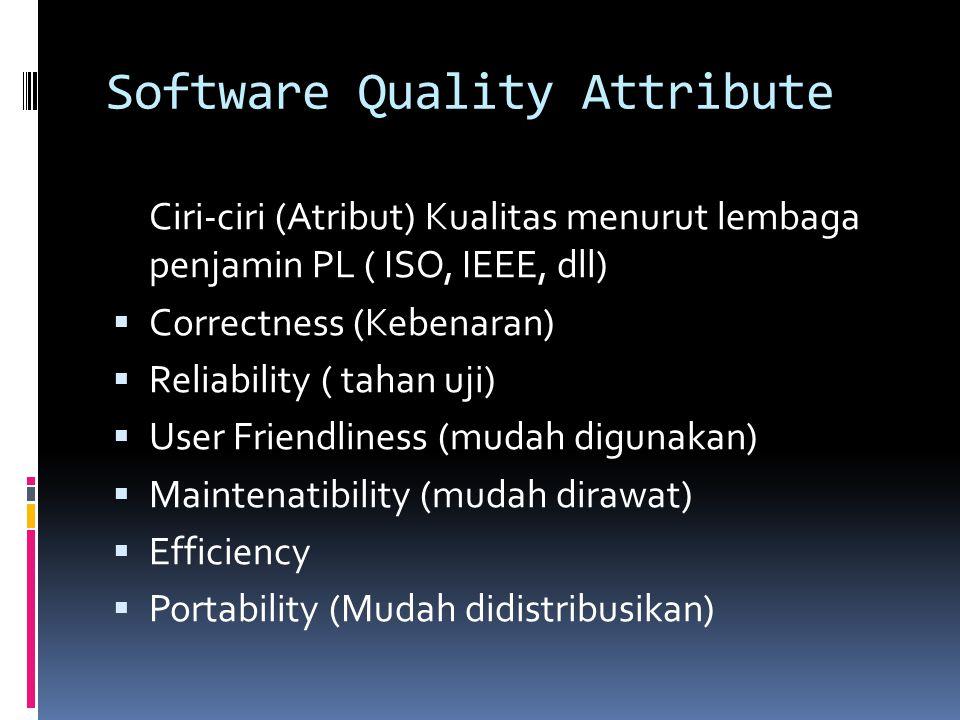 Software Quality Attribute Ciri-ciri (Atribut) Kualitas menurut lembaga penjamin PL ( ISO, IEEE, dll)  Correctness (Kebenaran)  Reliability ( tahan