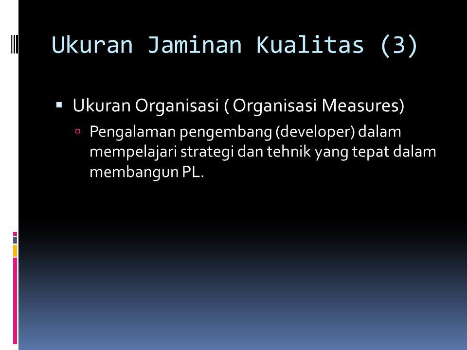 Ukuran Jaminan Kualitas (3)  Ukuran Organisasi ( Organisasi Measures)  Pengalaman pengembang (developer) dalam mempelajari strategi dan tehnik yang