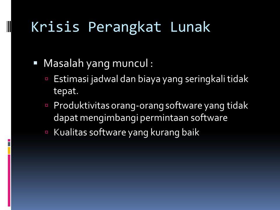 Krisis Perangkat Lunak (2)  Kurangnya pengetahuan tentang :  Bagaimana mengembangkan software  Bagaimana memelihara software yang ada yang berkembang dalam jumlah besar.