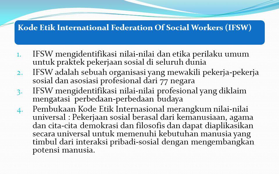Pembangian Tugas kelompok Materi DiskusiKelompok Code Etik NASW (Appendix A) halaman 447 – 466 Kelompok I Code of Ethics of IFSW (appendix B), halaman 467 – 472 Kelompok II Kode Etik Ikatan Pekerja Sosial Profesional Indonesia (IPSPI) Kelompok III