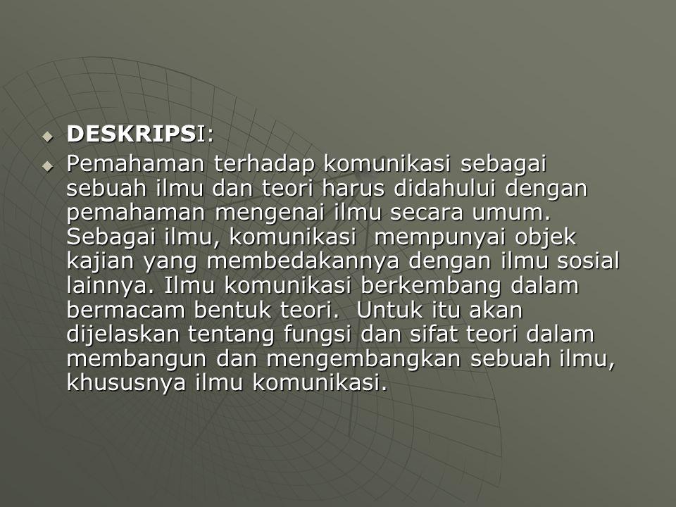  TUJUAN INSTRUKSIONAL:  Setelah mengikuti matakuliah ini mahasiswa mampu menjelaskan mengenai pengertian, sifat dan tujuan teori  REFERENSI:  Sasa Djuarsa S., Teori Komunikasi, Universitas Terbuka, Jakarta.