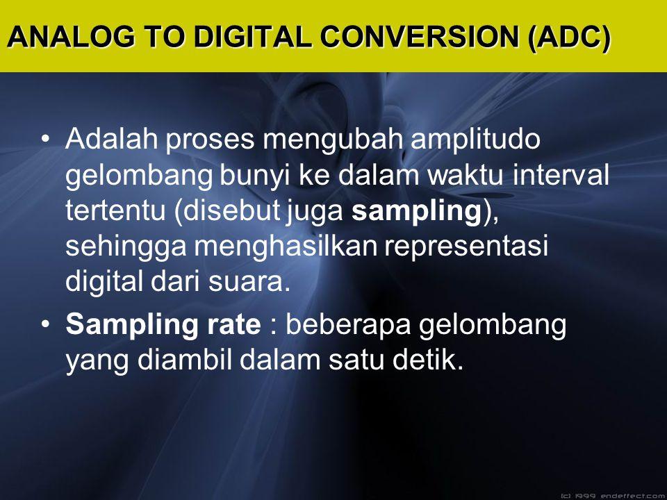 Adalah proses mengubah amplitudo gelombang bunyi ke dalam waktu interval tertentu (disebut juga sampling), sehingga menghasilkan representasi digital