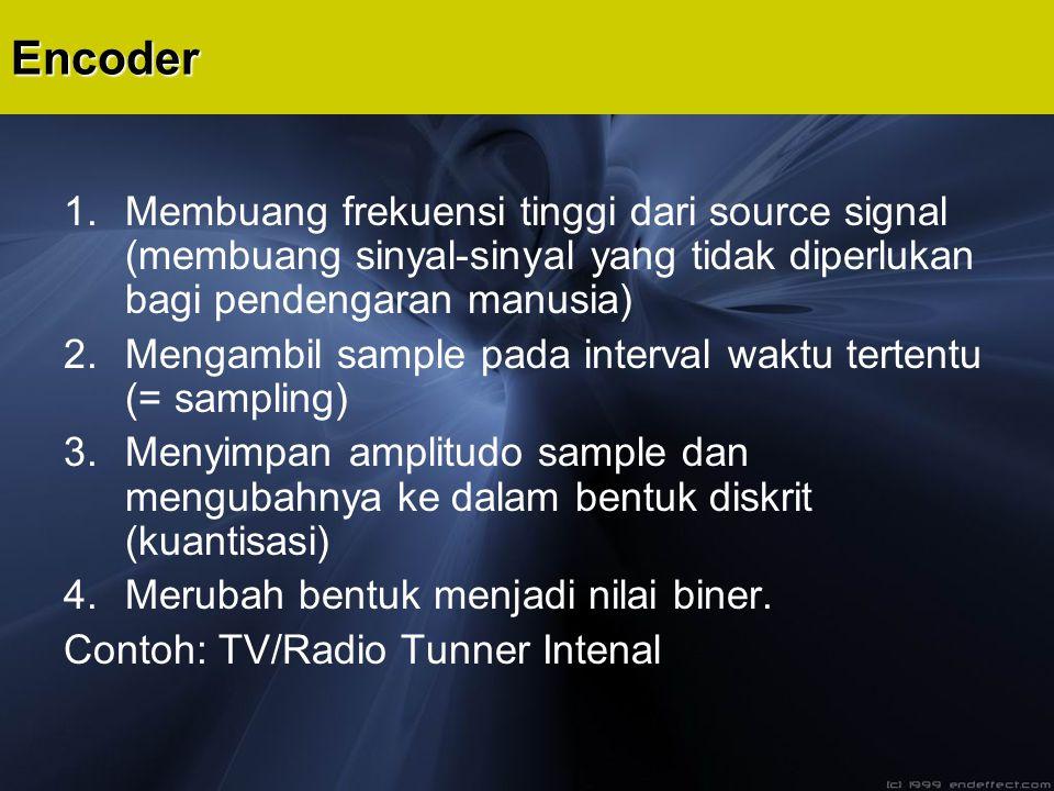 1.Membuang frekuensi tinggi dari source signal (membuang sinyal-sinyal yang tidak diperlukan bagi pendengaran manusia) 2.Mengambil sample pada interva