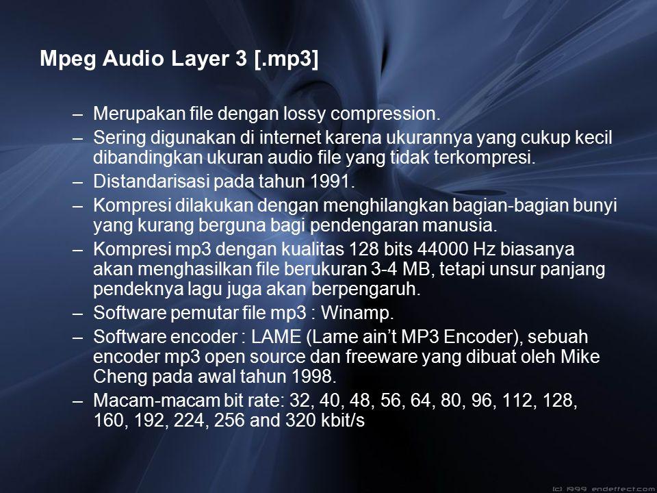 Mpeg Audio Layer 3 [.mp3] –Merupakan file dengan lossy compression. –Sering digunakan di internet karena ukurannya yang cukup kecil dibandingkan ukura