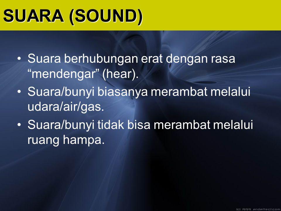 """Suara berhubungan erat dengan rasa """"mendengar"""" (hear). Suara/bunyi biasanya merambat melalui udara/air/gas. Suara/bunyi tidak bisa merambat melalui ru"""