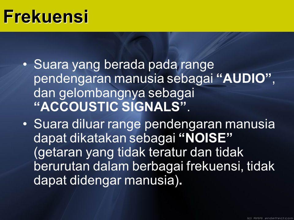 """Frekuensi Suara yang berada pada range pendengaran manusia sebagai """"AUDIO"""", dan gelombangnya sebagai """"ACCOUSTIC SIGNALS"""". Suara diluar range pendengar"""