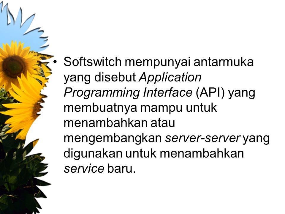 Softswitch mempunyai antarmuka yang disebut Application Programming Interface (API) yang membuatnya mampu untuk menambahkan atau mengembangkan server-