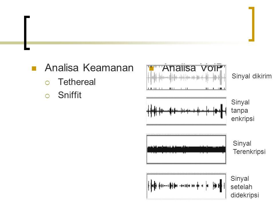 Analisa Keamanan  Tethereal  Sniffit Analisa VoIP Sinyal dikirim Sinyal tanpa enkripsi Sinyal Terenkripsi Sinyal setelah didekripsi