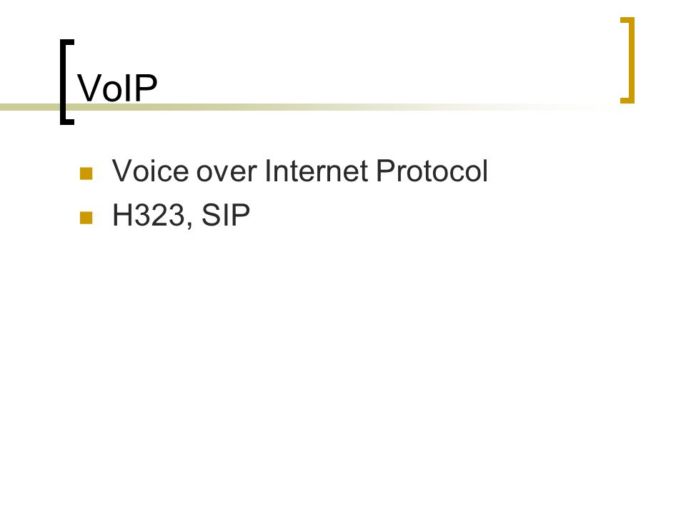 VoIP Voice over Internet Protocol H323, SIP