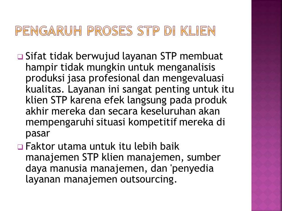  Sifat tidak berwujud layanan STP membuat hampir tidak mungkin untuk menganalisis produksi jasa profesional dan mengevaluasi kualitas. Layanan ini sa