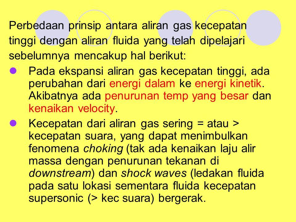Perbedaan prinsip antara aliran gas kecepatan tinggi dengan aliran fluida yang telah dipelajari sebelumnya mencakup hal berikut: Pada ekspansi aliran