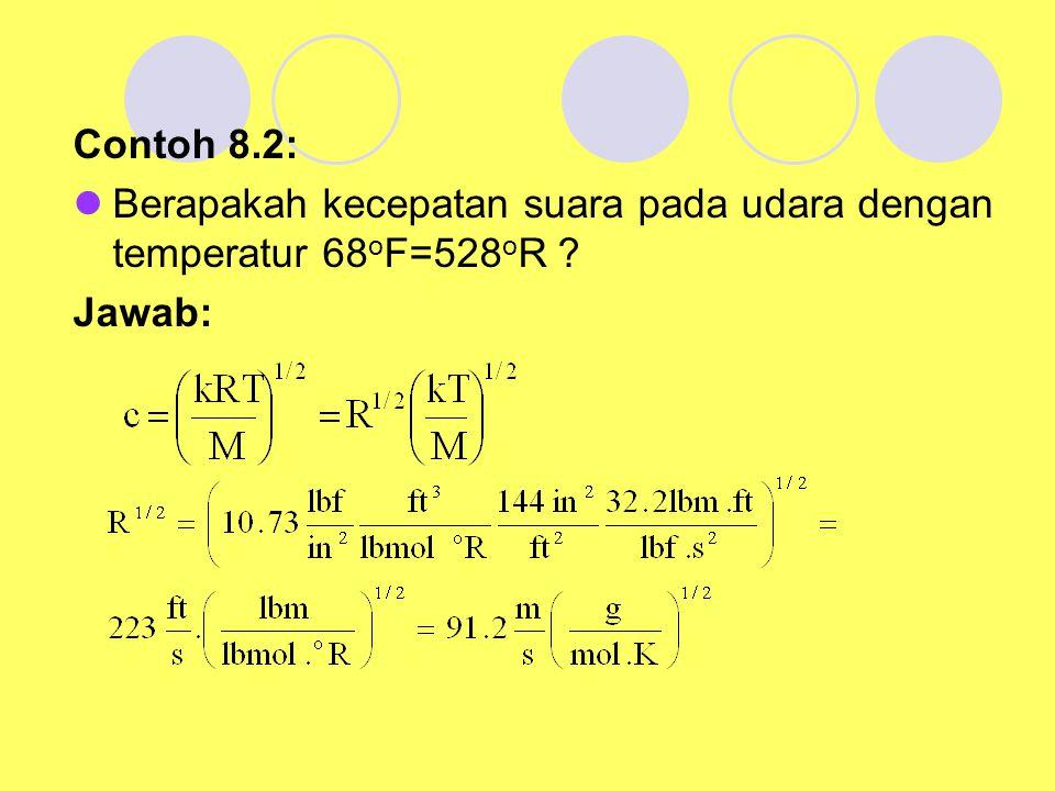 Contoh 8.2: Berapakah kecepatan suara pada udara dengan temperatur 68 o F=528 o R ? Jawab: