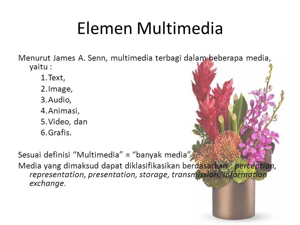 Elemen Multimedia Menurut James A. Senn, multimedia terbagi dalam beberapa media, yaitu : 1.Text, 2.Image, 3.Audio, 4.Animasi, 5.Video, dan 6.Grafis.
