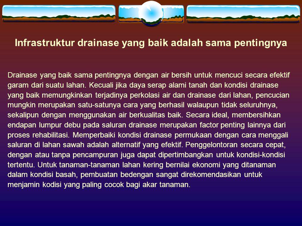 Infrastruktur drainase yang baik adalah sama pentingnya Drainase yang baik sama pentingnya dengan air bersih untuk mencuci secara efektif garam dari s