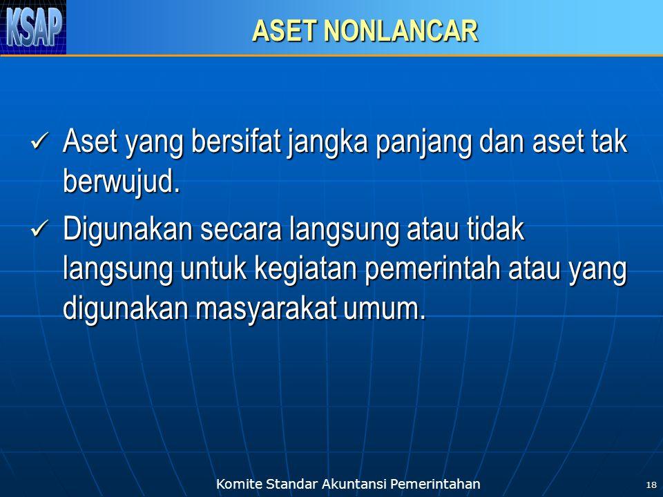 Komite Standar Akuntansi Pemerintahan 19 ASET NONLANCAR Aset non lancar meliputi: investasi jangka panjang, aset tetap, dana cadangan, dan aset lainnya.