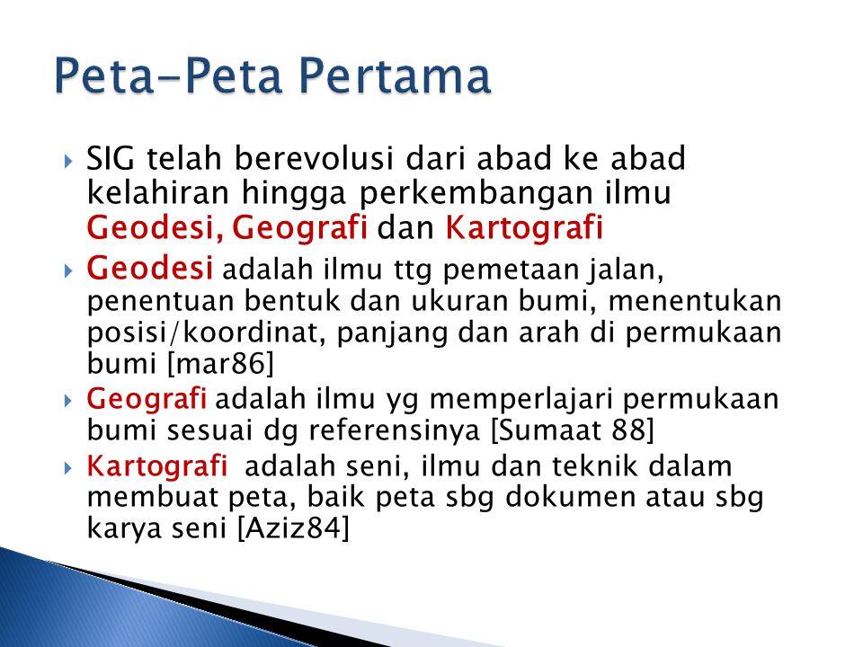  SIG telah berevolusi dari abad ke abad kelahiran hingga perkembangan ilmu Geodesi, Geografi dan Kartografi  Geodesi adalah ilmu ttg pemetaan jalan, penentuan bentuk dan ukuran bumi, menentukan posisi/koordinat, panjang dan arah di permukaan bumi [mar86]  Geografi adalah ilmu yg memperlajari permukaan bumi sesuai dg referensinya [Sumaat 88]  Kartografi adalah seni, ilmu dan teknik dalam membuat peta, baik peta sbg dokumen atau sbg karya seni [Aziz84]