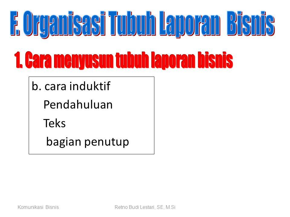 Komunikasi BisnisRetno Budi Lestari, SE, M.Si b. cara induktif Pendahuluan Teks bagian penutup