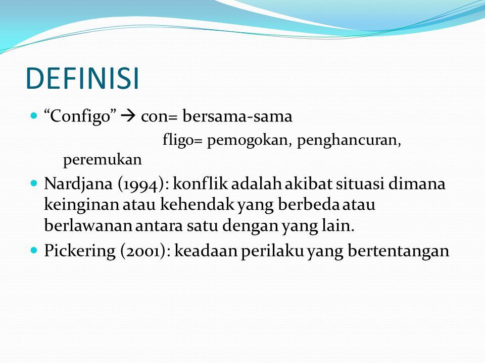 DEFINISI Configo  con= bersama-sama fligo= pemogokan, penghancuran, peremukan Nardjana (1994): konflik adalah akibat situasi dimana keinginan atau kehendak yang berbeda atau berlawanan antara satu dengan yang lain.