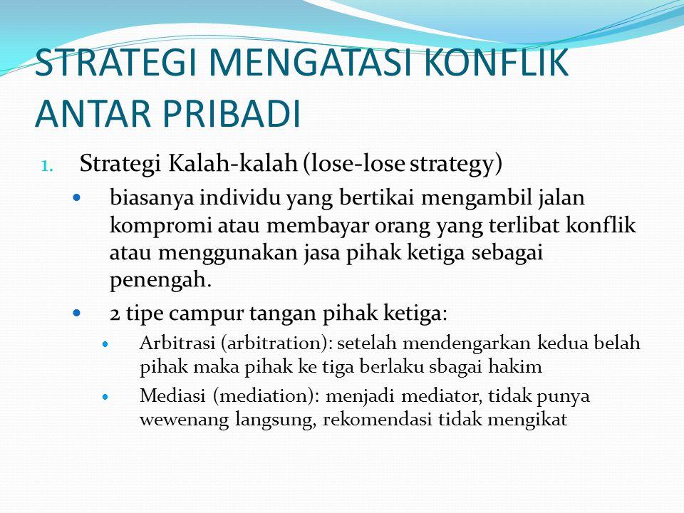 2.Strategi menang-kalah (win-lose strategy) - satu pihak menang, yang lain kalah 3.