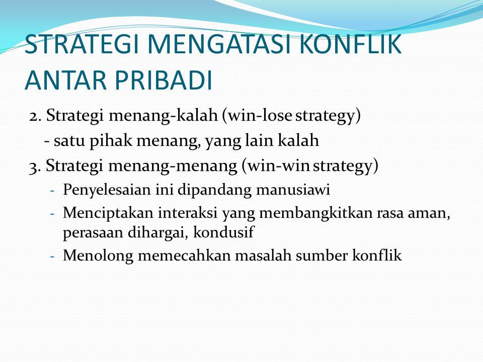 2. Strategi menang-kalah (win-lose strategy) - satu pihak menang, yang lain kalah 3.