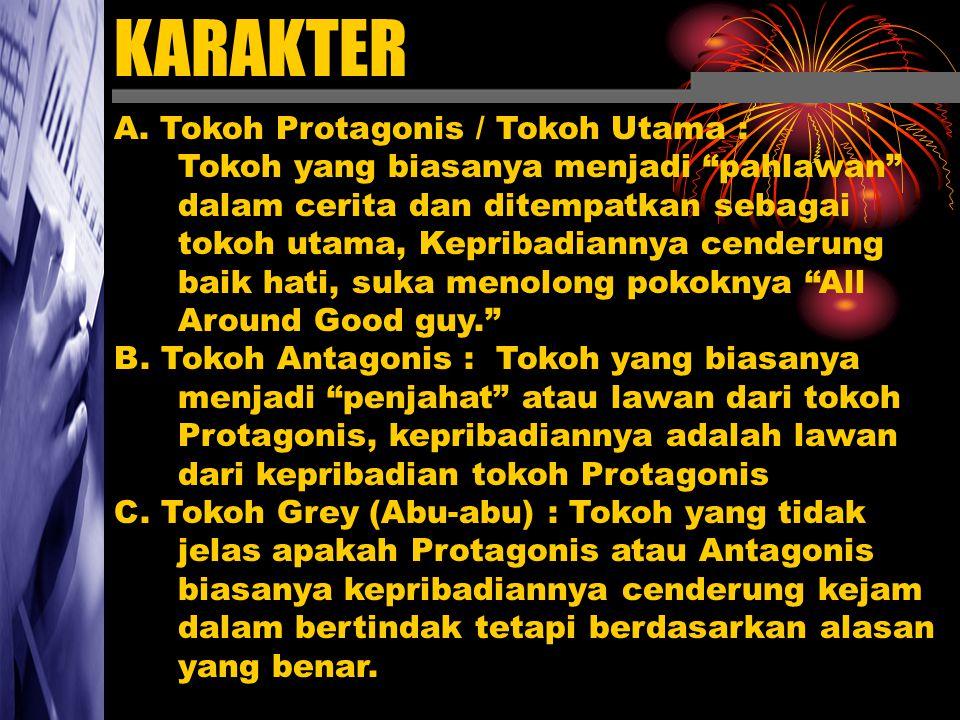 """KARAKTER A. Tokoh Protagonis / Tokoh Utama : Tokoh yang biasanya menjadi """"pahlawan"""" dalam cerita dan ditempatkan sebagai tokoh utama, Kepribadiannya c"""
