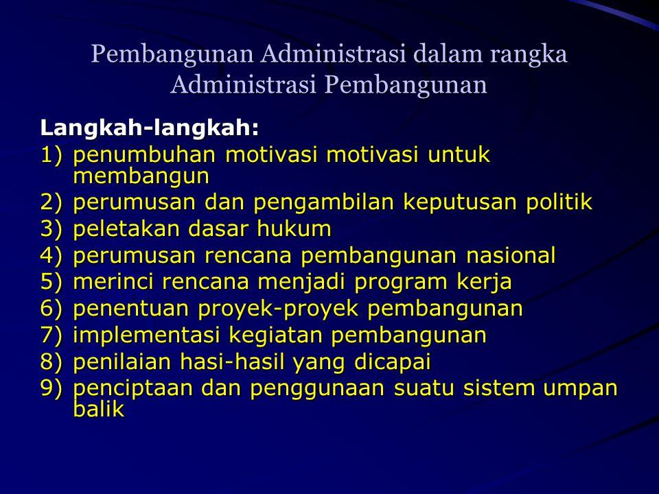 Pembangunan Administrasi dalam rangka Administrasi Pembangunan Langkah-langkah: 1)penumbuhan motivasi motivasi untuk membangun 2)perumusan dan pengamb