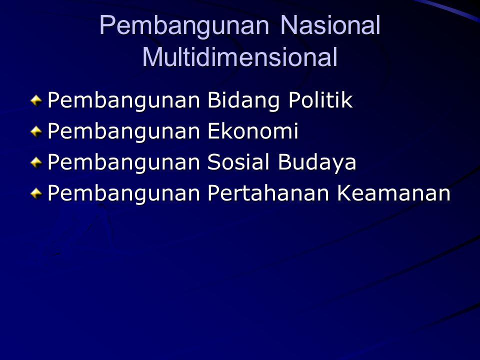 Pembangunan Nasional Multidimensional Pembangunan Bidang Politik Pembangunan Ekonomi Pembangunan Sosial Budaya Pembangunan Pertahanan Keamanan