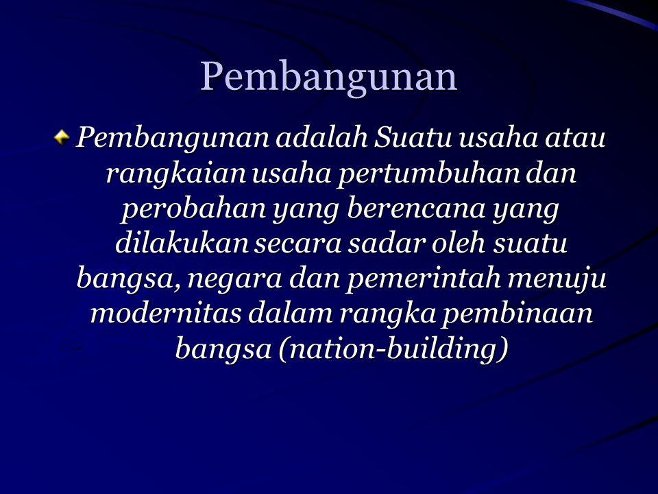 Pembangunan Pembangunan adalah Suatu usaha atau rangkaian usaha pertumbuhan dan perobahan yang berencana yang dilakukan secara sadar oleh suatu bangsa, negara dan pemerintah menuju modernitas dalam rangka pembinaan bangsa (nation-building)