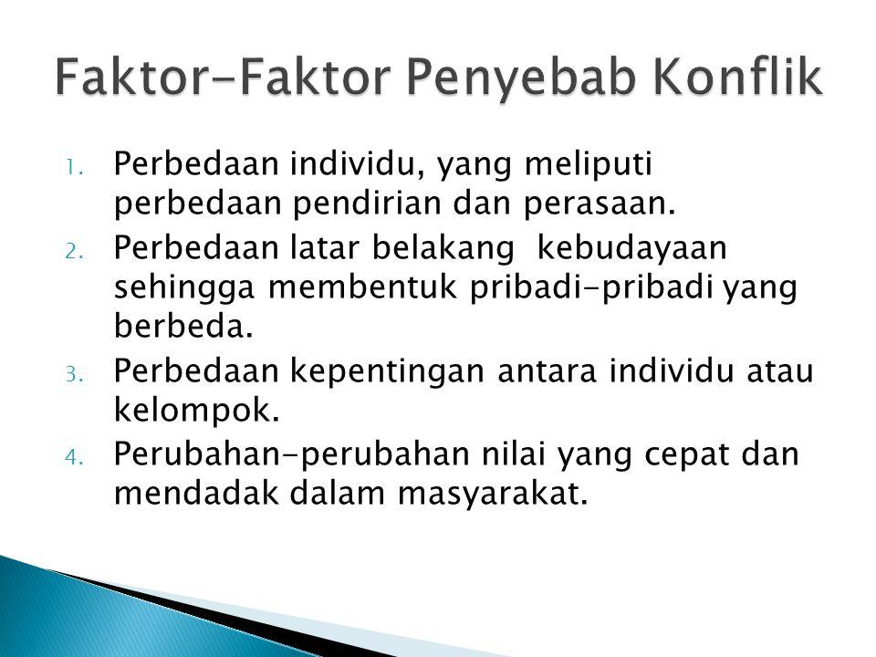 1.Perbedaan individu, yang meliputi perbedaan pendirian dan perasaan.