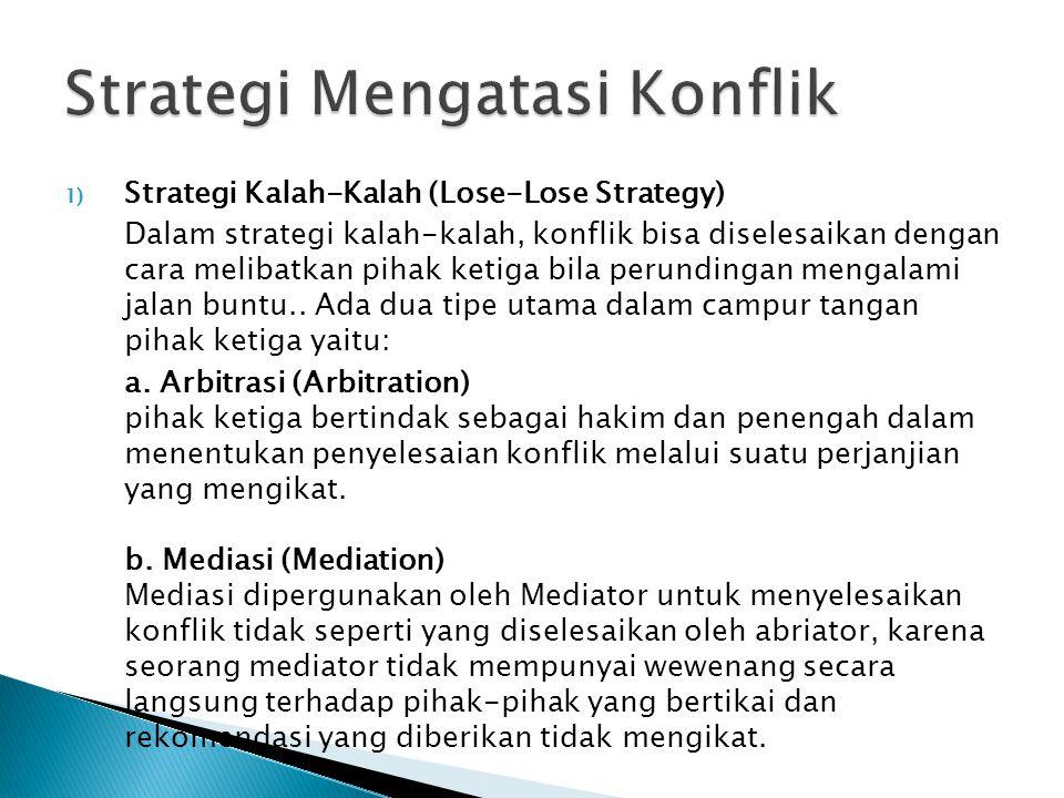 1) Strategi Kalah-Kalah (Lose-Lose Strategy) Dalam strategi kalah-kalah, konflik bisa diselesaikan dengan cara melibatkan pihak ketiga bila perundingan mengalami jalan buntu..