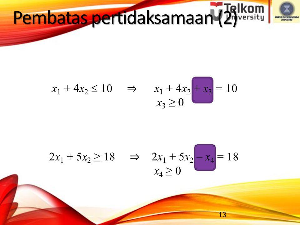 13 Pembatas pertidaksamaan (2) 2x 1 + 5x 2 ≥ 18 ⇒ 2x 1 + 5x 2 – x 4 = 18 x 4 ≥ 0 x 1 + 4x 2  10 ⇒ x 1 + 4x 2 + x 3 = 10 x 3 ≥ 0