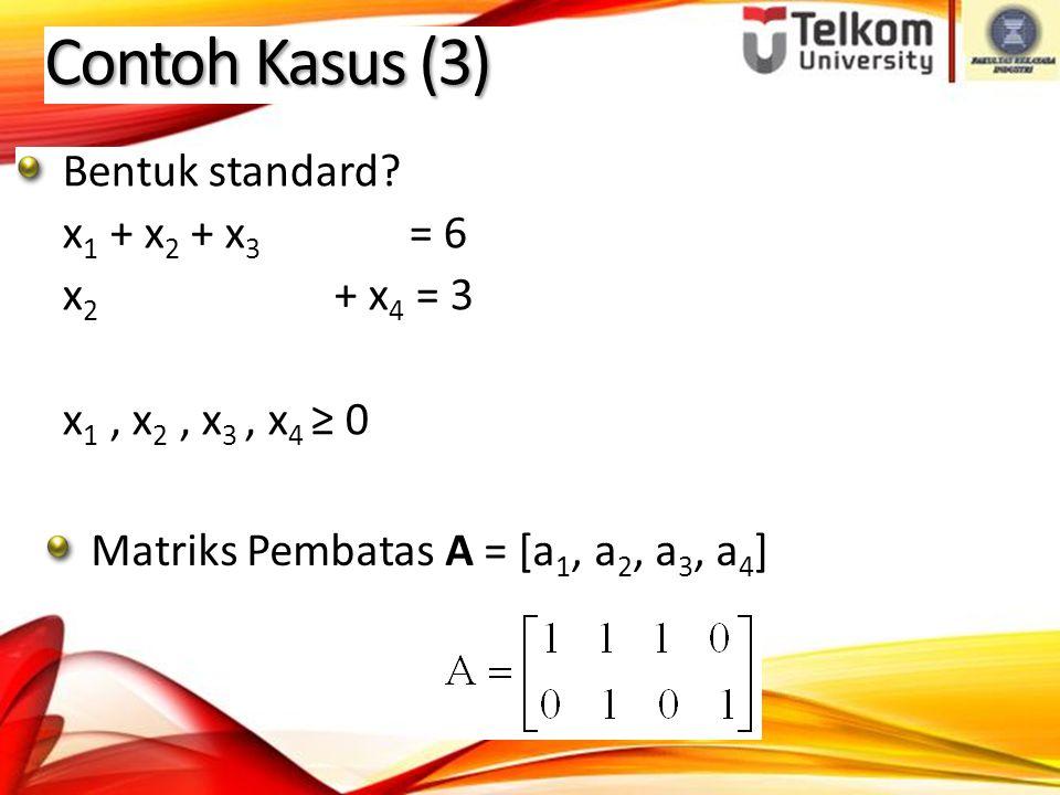 Contoh Kasus (3) Matriks Pembatas A = [a 1, a 2, a 3, a 4 ] Bentuk standard.