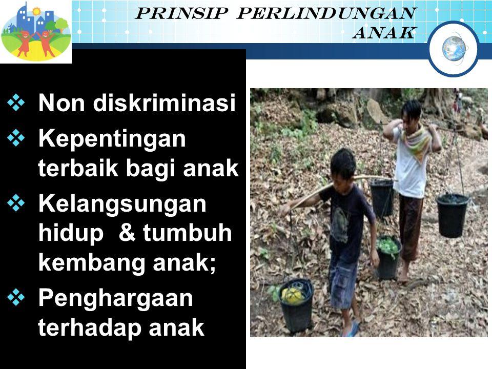 Prinsip perlindungan anak  Non diskriminasi  Kepentingan terbaik bagi anak  Kelangsungan hidup & tumbuh kembang anak;  Penghargaan terhadap anak