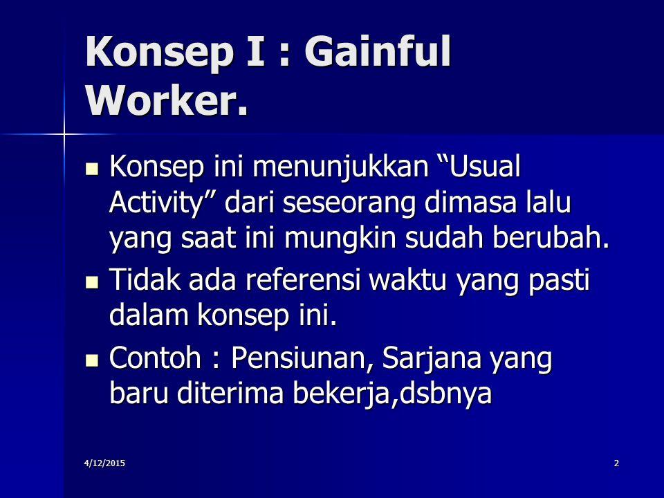 """Konsep I : Gainful Worker. Konsep ini menunjukkan """"Usual Activity"""" dari seseorang dimasa lalu yang saat ini mungkin sudah berubah. Konsep ini menunjuk"""
