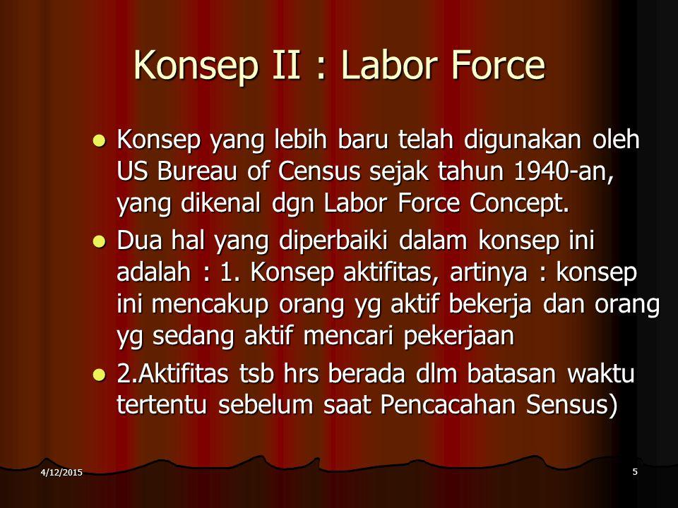 Konsep II : Labor Force Konsep yang lebih baru telah digunakan oleh US Bureau of Census sejak tahun 1940-an, yang dikenal dgn Labor Force Concept. Kon