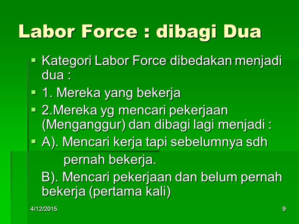 Labor Force : dibagi Dua  Kategori Labor Force dibedakan menjadi dua :  1. Mereka yang bekerja  2.Mereka yg mencari pekerjaan (Menganggur) dan diba