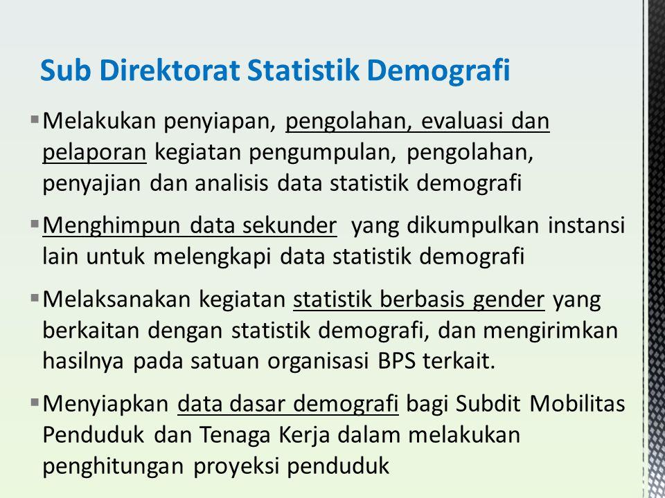  Melakukan penyiapan, pengolahan, evaluasi dan pelaporan kegiatan pengumpulan, pengolahan, penyajian dan analisis data statistik demografi  Menghimp