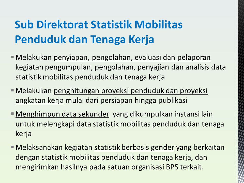  Melakukan penyiapan, pengolahan, evaluasi dan pelaporan kegiatan pengumpulan, pengolahan, penyajian dan analisis data statistik mobilitas penduduk d