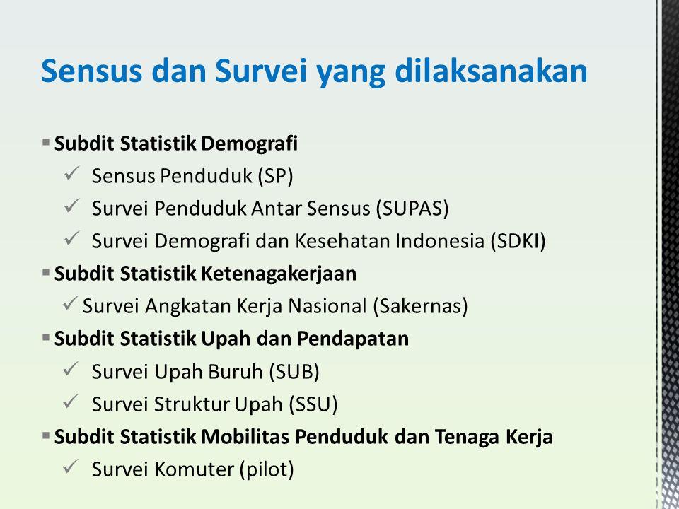  Subdit Statistik Demografi Sensus Penduduk (SP) Survei Penduduk Antar Sensus (SUPAS) Survei Demografi dan Kesehatan Indonesia (SDKI)  Subdit Statis