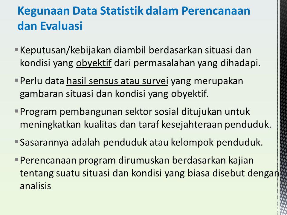  Keputusan/kebijakan diambil berdasarkan situasi dan kondisi yang obyektif dari permasalahan yang dihadapi.  Perlu data hasil sensus atau survei yan