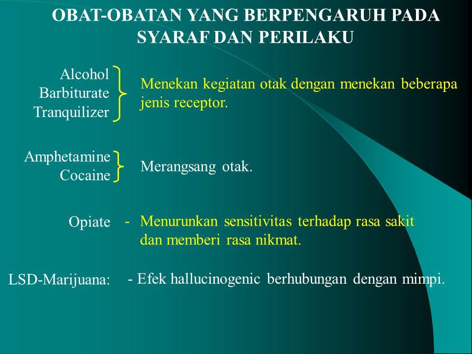 OBAT-OBATAN YANG BERPENGARUH PADA SYARAF DAN PERILAKU Opiate - Menurunkan sensitivitas terhadap rasa sakit dan memberi rasa nikmat. LSD-Marijuana: - E